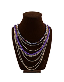 Exaggerated Purple Beads Decorated Color Matching Design Multi-layer Necklace