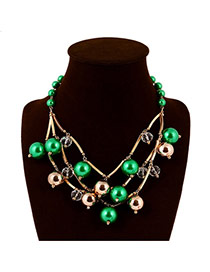 Fashion Green Pearls Decorated Hollow Oout Design Necklace