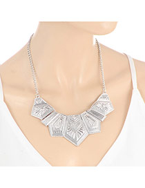 Fashion Silver Color Pure Color Decorated Geometric Shape Simple Necklace
