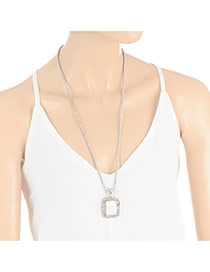 Fashion White Square Shape Diamond Decorated Simple Long Necklace