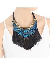 Fashion Blue Long Tassel Pendant Decorated Simple Collar Necklace