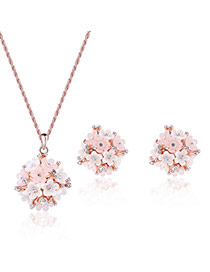 Fashion Pink Flower Pendant Decorated Pure Color Design Jewelry Sets