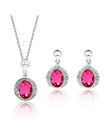 Fashion Plum Red Oval Shape Diamond Pendant Decorated Color Matching Jewelry Sets