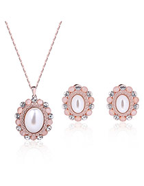 Fashion Rose Gold Big Oval Shape Diamond Decorated Flower Shape Jewelry Sets