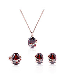 Fashion Red Oval Shape Diamond Decorated Color Matching Jewelry Sets