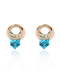 Fashion Blue Geometric Shape Diamond Decorated Color Matching Earrings