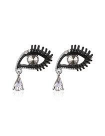 Fashion Silver Color Eyes Shape Decorated Color Matching Design Earrings