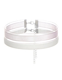 Fashion White Color Matching Decorated Double Layer Design Choker