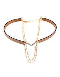 Trendy Brown Diamond Decorated V Shape Multi-layer Simple Choker