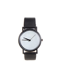 Fashion White+black Color Matching Decorated Round Dial Design Watch
