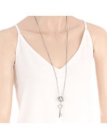 Fashion Silver Color Key^ring Pendant Decorated Pure Color Necklace