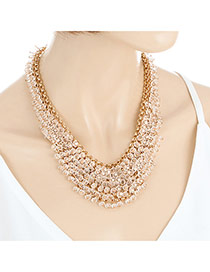 Fashion Gold Color Beads Decorated Multi-layer Design Simple Necklace
