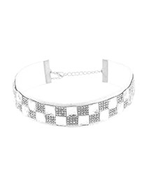 Trendy White Square Shape Diamond Decorated Double Layer Simple Choker