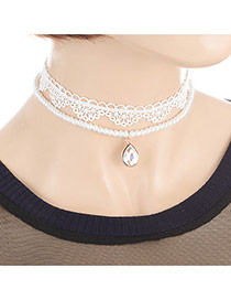 Fashion White Pearls&diamond Decorated Double Layer Design Simple Choker