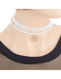 Fashion White Snowflake Pendant Decorated Double Layer Choker