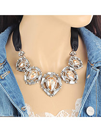 Fashion Champagne Water Drop Shape Diamond Decorated Hollow Out Simple Necklace