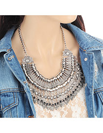Fashion Silver Color Tassel Pendant Decorated Hollow Out Simple Necklace