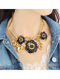 Fashion Black Flower Decorated Color Matching Design Necklace