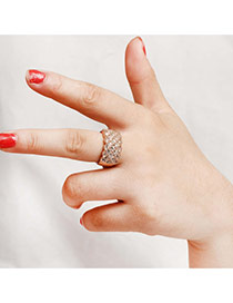 Fashion Gold Color Round Shape Diamond Decorated Pure Color Simple Ring
