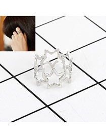 Fashion Silver Color Star Decorated Hollow Out Design Pure Color Ring