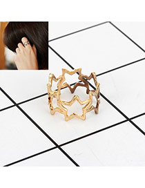 Fashion Gold Color Star Decorated Hollow Out Design Pure Color Ring