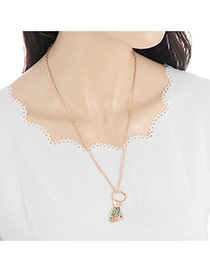 Fashion Gold Color Round Shape Diamond Decorated Cans Shape Simple Necklace