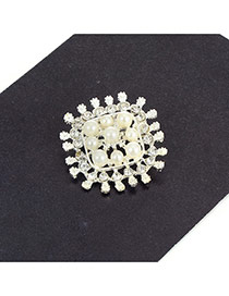 Fashion Silver Color Diamond Decorated Hollow Out Flower Simple Brooch