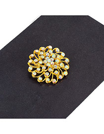 Fashion Gold Color Diamond Decorated Hollow Out Flower Simple Brooch
