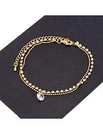 Fashion Gold Color Diamond Decorated Double Layer Simple Bracelet