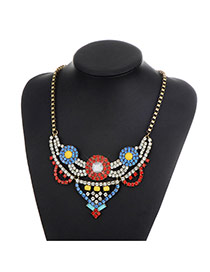 Fashion Multi-color Round Shape Diamond Decorated Hollow Out Design Necklace