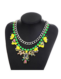 Fashion Yellow Diamond Decorated Color Matching Geometric Shape Necklace