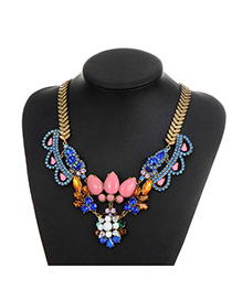Fashion Pink Water Drop Diamond Decorated Hollow Out Simple Necklace