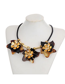Fashion Gold Color Diamond Decorated Flower Shape Simple Necklace