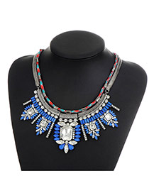 Fashion Blue Sqaure Shape Diamond Decorated Color Matching Simple Necklace