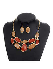 Fashion Multi-color Geometric Shape Gemstone Decorated Color Matching Jewelry Sets