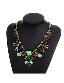 Fashion Multi-color Sqaure Shape Diamond Decorated Color Matching Necklace