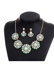 Fashion Green Diamond&pearls Decorated Flower Shape Jewelry Sets