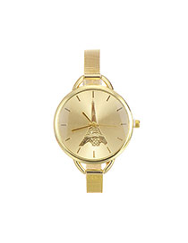 Fashion Gold Color Iron Tower Pattern Decorated Round Dial Watch