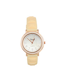 Fashion Cream-coloured Color Matching Decorated Round Dail Simple Watch