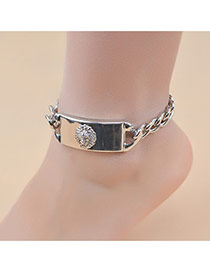 Fashion Silver Color Large Meatball Pattern Decorated Pure Color Anklet