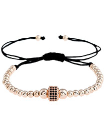 Personality Rose Gold Pure Color Decorated Round Shape Design Simple Bracelet