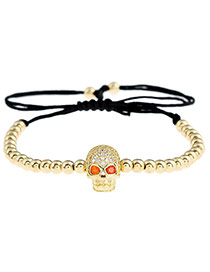 Personality Gold Color Skull Shape Decorated Simple Pure Color Design Bracelet