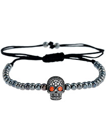 Personality Sun Black Skull Shape Decorated Simple Pure Color Design Bracelet