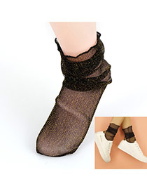 Trendy Gold Color Transparent Socks Of Sexy Style