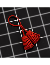 Trendy Red Key Chain Of Pure Color Decorated With Double Tassel