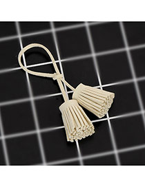 Trendy Creamy Color Key Chain Of Pure Color Decorated With Double Tassel