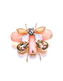 Retro Pink Gemstone Decorated Butterfly Design Simple Brooch