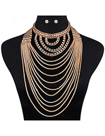 Luxury Gold Color Metal Round Shape Decorated Pure Color Jewelry Sets