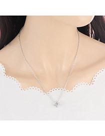 Elegant Silver Color Square Shape Pendant Decorated Simple Neckalce