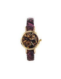 Fashion Pink Nakeskin Grain Strap Decorated Simple Wrist Watch